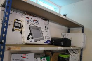 Pro Elec LED work light with large V-Tac LED flood light and black plastic weatherproof box