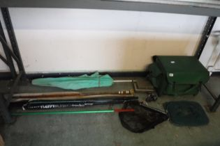Quantity of various fishing equipment incl. green tackle box, Inora fishing reel, 2 nets, 2 rods and