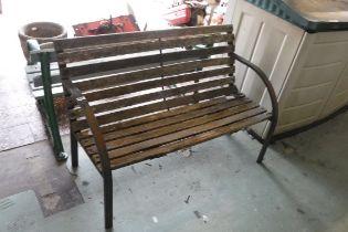 Aluminium framed wooden garden bench
