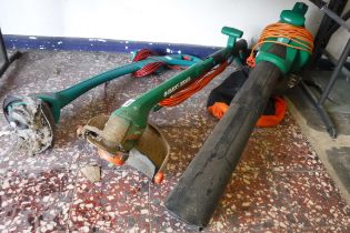2 electric garden strimmers with electric leaf blower