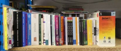 Shelf of hardback and paperback reference material inc. various publishers Wiley, Element, SPCK