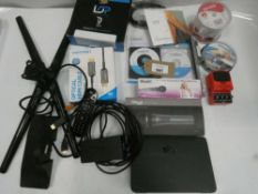 Bag containing microphones, CD-Rs, 3D printer filament, HDMI cables, TV stand, guitar pedal etc