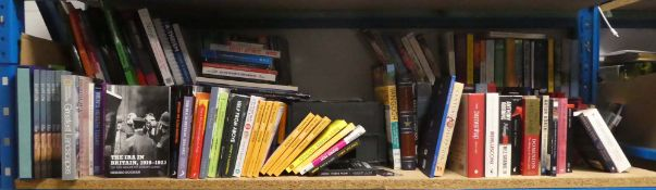 Large shelf comprising of various hardback and paperback novels and other books inc. publishers