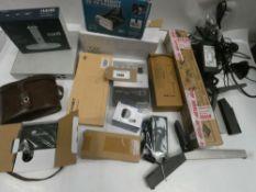 Bag containing Cisco Meraki switch, toners, vintage binoculars, PSUs, doorbell, Tecknet wireless