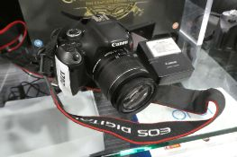 Canon ELS Revel T3i DSLR camera with 18-55mm lens, charger and battery