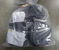Bag containing Brother ink cartridges, Jabra Evolve 40 headset, Groove CD player, Virgin router,