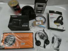 Bag containing vinyl covers, DVD-Rs, Azatom DAB radio, headphones, headsets etc