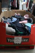 Pallet of new and used gents and ladies clothing and used linen