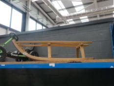 Slatted wooden sledge