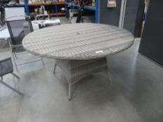 Circular rattan table in grey, no glass