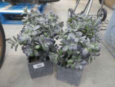 4 small artificial succulent plants in grey pots