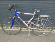 Full suspension Salcano mountain bike in silver and blue