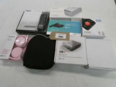 Bag containing Bush DVD player, Sony headphones, headset, bluetooth speaker, Tibo audio streamer,