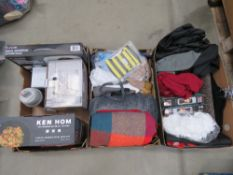 3 trays containing mixed towels, hangers and assorted household items