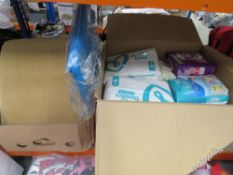 Box containing various wet wipes, Pampers, etc