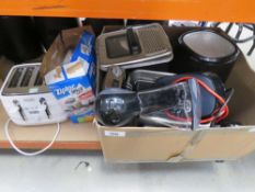 Large box of mixed assorted kitchen ware