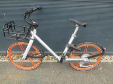 Orange and silver Mobike