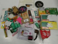 Bag containing various smoking accessories; filters, trays, card tips, papers etc