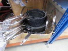 Box containing used Star For It Rocks pots and pans
