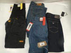 Bag of denim wear to include Emporio Armani, DKNY, DeWalt and Levi's in various sizes