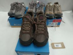 4 Pairs of Columbia redcrest waterproof trainers sizes 4,5, 6 and 11