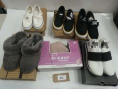 6 Pairs of various styles of shoes to include Penguin, DKNY, Kirkland and totes in various sizes