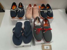 5 Pairs of Swims trainers and flip flops in various styles and sizes