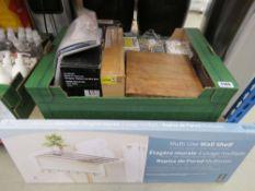 Multi use wall shelf, and box of mixed housewares