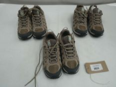 3 Pairs of unboxed Columbia redcrest waterproof trainers sizes 5 and 6