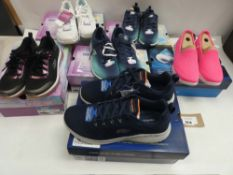 6 Pairs of Sketchers air cooled memory foam trainers in various sizes