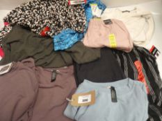 Bag of ladies clothing to include Briggs, Mondetta, BC Clothing, etc in various sizes