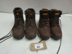 2 Pairs of DeWalt steel toe boots both size 9