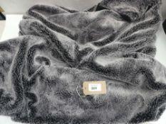 Mon Chateau collection black & grey faux fur throw