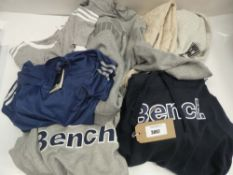 Bag of mixed sports clothing to include Bench. , The North Face, Puma, Adidas etc in various