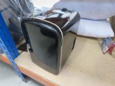 Small black mini fridge