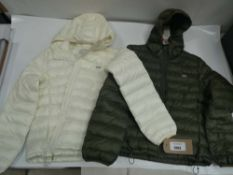 Two Levi's Thermore jackets in cream and khaki both size small