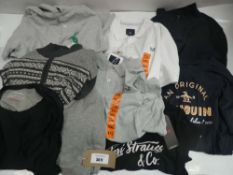 Bag of men's clothing to include Levi's, Penguin, Crew Clothing, etc in various sizes