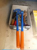 Small box of various tools and a pipe bender