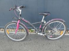 Pink and black girls bike (one pedal)