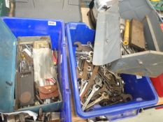2 boxes of drill bits, measuring items and spanners