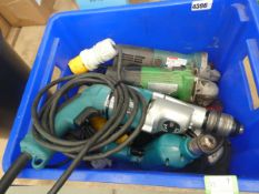 Blue box containing 110v drills and angle grinders