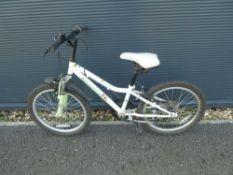 Small white childs bike