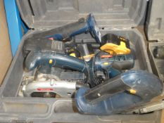 Ryobi tool kit with circular saw, jigsaw, drill, angle drill, 2 batteries and charger