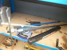 Torque wrench, screws, squeegee, plaster board stand, drill bits etc