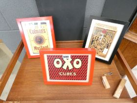 Three framed advertising posters - Colman's Mustard, OXO Cubes and Typhoo tea