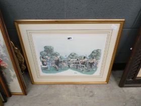5026 Framed and glazed painting of a day at the races