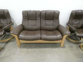 Two seater Stressless cinema reclining sofa in brown leather