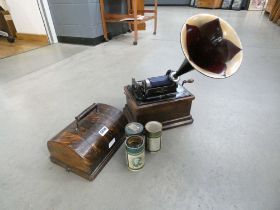 Thomas A Edison vintage gramophone with two wax playing discs