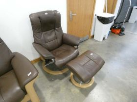 Stressless reclining swivel armchair and matching footstool in brown leather No model, headrest