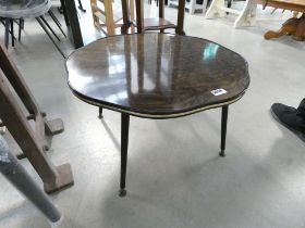 1960's fluted top table on black supports